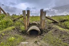 Wildlife crossing culvert pipe underpass. For animals under a highway in the Netherlands Royalty Free Stock Photos