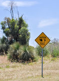 Wildlife Crossing Sign: Bandicoots and Emu's Stock Image