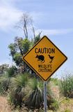 Wildlife Crossing Sign with Grass Trees Royalty Free Stock Images
