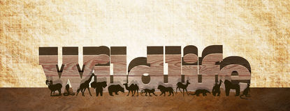 Wildlife. 3D wording with animals in front Royalty Free Stock Images