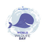 Wildlife Day. World Wildlife Day  poster.Cute little whale. Vector illustration Royalty Free Stock Photo