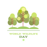 Wildlife Day13. World Wildlife Day poster in flat style isolated on white.Universal templates collection for trendy design. Vector illustration royalty free illustration