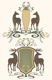 Wildlife emblems vector. Wildlife vintage style emblems - shields with pair of deer Stock Image