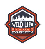 Wildlife expedition vintage isolated badge. Summer camp symbol, mountain and forest explorer, touristic camping label, nature recreation illustration Royalty Free Stock Photos