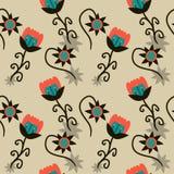 Wildlife Flowers Background. Seamless texture Stock Image
