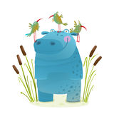 Wildlife Hippo with Cute Birds Smiling Kids Friends Stock Image