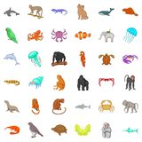 Wildlife icons set, cartoon style Stock Photos