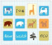 Wildlife icons set Royalty Free Stock Image