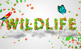 Wildlife leaves particles 3D. Digital art Stock Photography