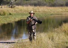 Wildlife Photographer on Location - Botswana Stock Image