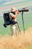 Wildlife photographer outdoor Stock Image