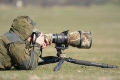 Wildlife photographer outdoor Royalty Free Stock Image