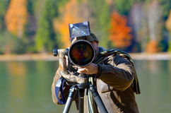 Wildlife photographer outdoor Royalty Free Stock Photography