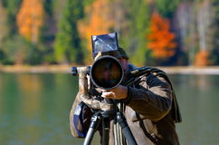 Wildlife photographer outdoor Stock Photo