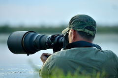 Wildlife photographer outdoor Royalty Free Stock Image