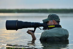 Wildlife photographer outdoor, standing in the water Royalty Free Stock Photography