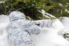 Wildlife photographer outdoor in winter Royalty Free Stock Photo
