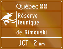 Wildlife Reserve in Canada. Guide and information road sign in Quebec, Canada - Wildlife reserve Rimouski vector illustration