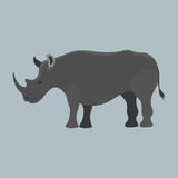 Wildlife rhinoceros mammal isolated rhino big wild africa animal endangered species horn zoo character vector. Illustration. Natural armor large dangerous Stock Photo