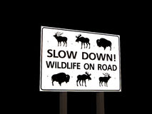 Wildlife On Road Sign Stock Photo