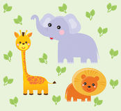 Wildlife/Safari. Giraffe, elephant and lion on the green leafy background Stock Photo