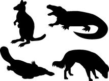 Wildlife silhouettes Royalty Free Stock Photos