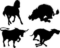 Wildlife silhouettes. Vector art of wildlife silhouettes isolated on white background Stock Images