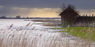 Wildlife spotting hut. Bird observation hideout Ezumakeeg in the Dutch National Park Lauwersmeergebied, one of the best known bird watching places in the Stock Photos