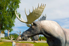 Wildlife statues at an outdoor museum in the yukon Royalty Free Stock Photo
