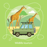 Wildlife Tourism. Icon of Traveling, Vacation. Wildlife Tourism. Jeep on the background of the mountains near the giraffes in the savanna. Icon of Traveling Royalty Free Stock Photography