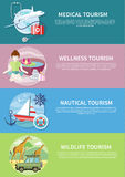Wildlife, Wellness, Medical and Nautical Tourism. Wildlife Tourism. Wellness tourism. Flat design style modern concept of medical services abroad, along with the Stock Photo
