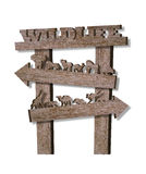 Wildlife. Wooden 3D directional signage Royalty Free Stock Photography