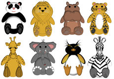Wildlife Zoo Animals on White Background. Drawings Stock Photo