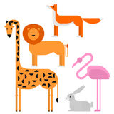 Wildlife zoo collection of cute cartoon animals. Big fauna of the world icon set isolated. Wild characters.  Royalty Free Stock Image