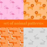 Wildlife zoo collection of cute cartoon animals. Big fauna of the world icon set isolated. Wild characters Stock Images