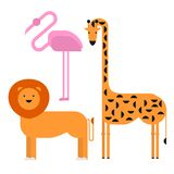 Wildlife zoo collection of cute cartoon animals. Big fauna of the world icon set isolated. Wild characters. Lion, giraffe and flam Stock Photo
