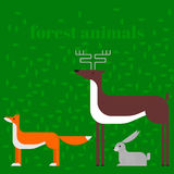 Wildlife zoo collection of cute cartoon animals. Forest fauna of the world icon set isolated. Wild characters. Fox, deer Royalty Free Stock Image