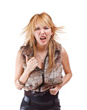 Wildly screaming woman Royalty Free Stock Photos