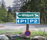 Wildpark, Kaiserslautern, Germany - - MAY 22,2014. Road sign of the movement to the park of wild animals Stock Photography
