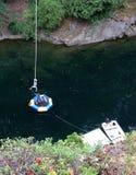 Hang in their baby, Nanaimo BC Bungy Jumper stock image