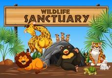 Wildreservaatbanner en Dieren royalty-vrije illustratie