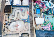 WILDWOOD, NEW JERSEY, USA - SEPTEMBER 5, 2017: Aerial view of th. E the Moreys Piers and Beachfront Water Parks complex in Wildwood, New Jearsey on the Atlantic stock image