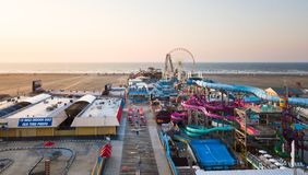 WILDWOOD, NEW JERSEY, USA - SEPTEMBER 5, 2017: Aerial view of th. E the Moreys Piers and Beachfront Water Parks complex in Wildwood, New Jearsey on the Atlantic royalty free stock photography