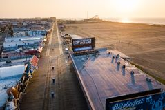 WILDWOOD, NEW JERSEY, USA - SEPTEMBER 5, 2017: Empty Wildwood bo. Ardwalk and beach at sunrise, shoot with a drone. Wildwood in a tourist resort city on the stock image