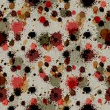 Wildy Splattered Grungy Background. This background is good and grungy... splattered with ink paint and stains... red brown orange gold tan green grey / gray all Stock Photos