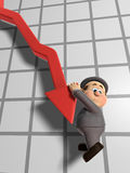 Wilfred Declining Graph. 3D illustration of Wilfred Hanging on for life off of a declining chart arrow Stock Photography