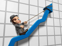 Wilfred Inclining Graph. 3D illustration of Wilfred Hclinbing up a chart graph arrow with a rope Royalty Free Stock Image