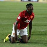 Wilfried Zaha (R) of Man Utd. Stock Images
