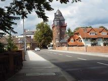 Wilhelm bridge with fisherman tower. Kreuznach, Germany 2104 Royalty Free Stock Photos