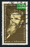 Wilhelm Conrad Roentgen. GERMANY - CIRCA 1965: stamp printed by Germany, shows Wilhelm Conrad Roentgen, circa 1965 Stock Photography